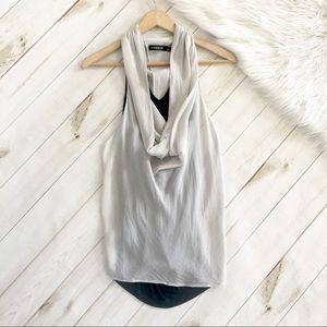 Trouve | Drape Neck Layered Sleeveless Blouse